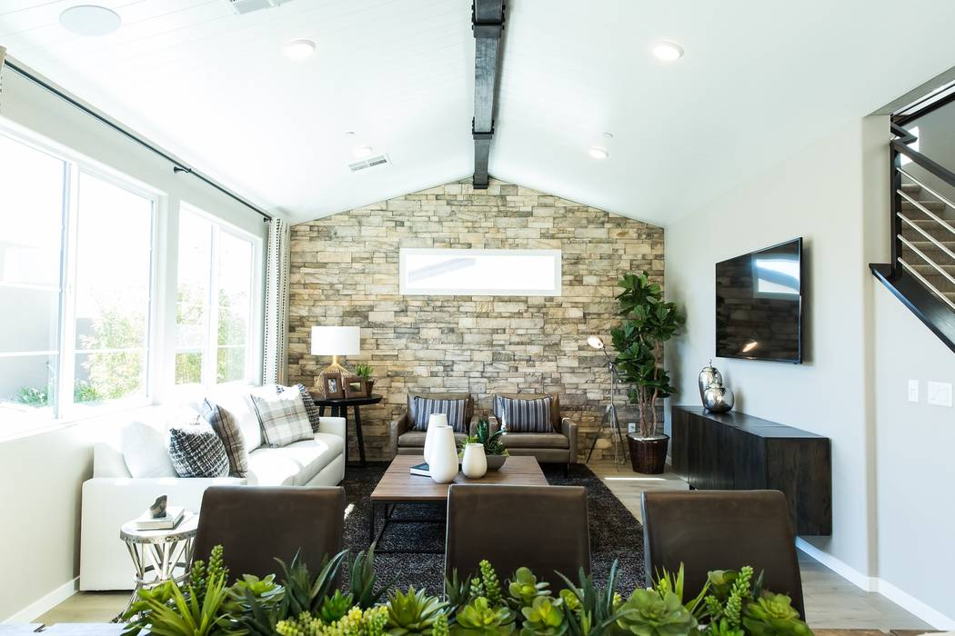 Pictured is the great room in Pivot's Plan Four model home. Pivot by Pardee Homes is off South Green Valley Parkway at Carnegie Street in Henderson. (Pardee)