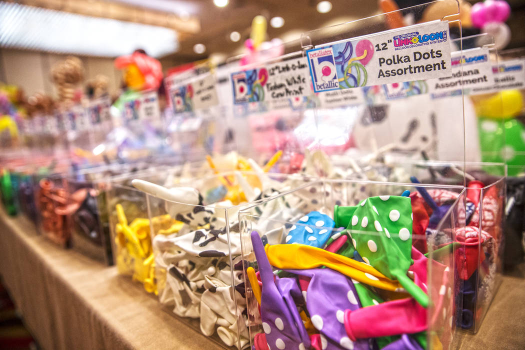 Rows of large bins of multicolored balloons fill one of two meeting rooms during the Bling Bling Jam Balloon Convention on Tuesday, July 25, 2017, at the Golden Nugget hotel-casino, in Las Vegas.  ...