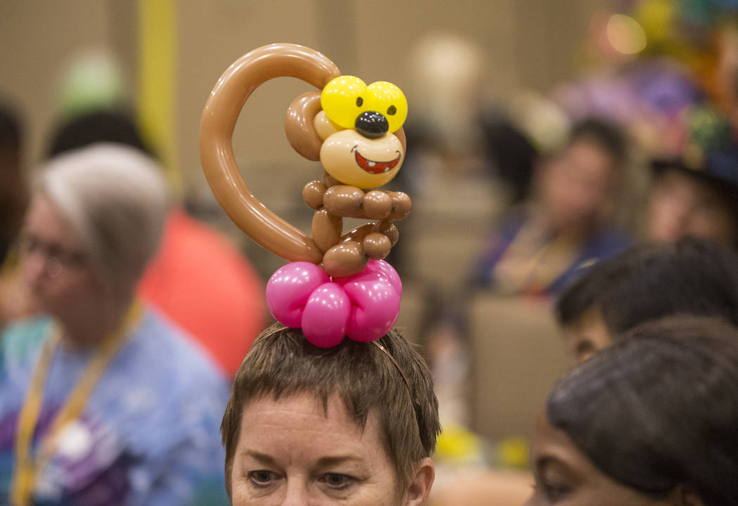 Janet Lenox listens to a balloon art class during the Bling Bling Jam Balloon Convention on Tuesday, July 25, 2017, at the Golden Nugget hotel-casino, in Las Vegas. Benjamin Hager Las Vegas Review ...