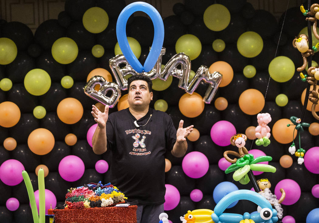 Fabrizio Bolzoni leads a balloon art class during the Bling Bling Jam Balloon Convention on Tuesday, July 25, 2017, at the Golden Nugget hotel-casino, in Las Vegas. Benjamin Hager Las Vegas Review ...