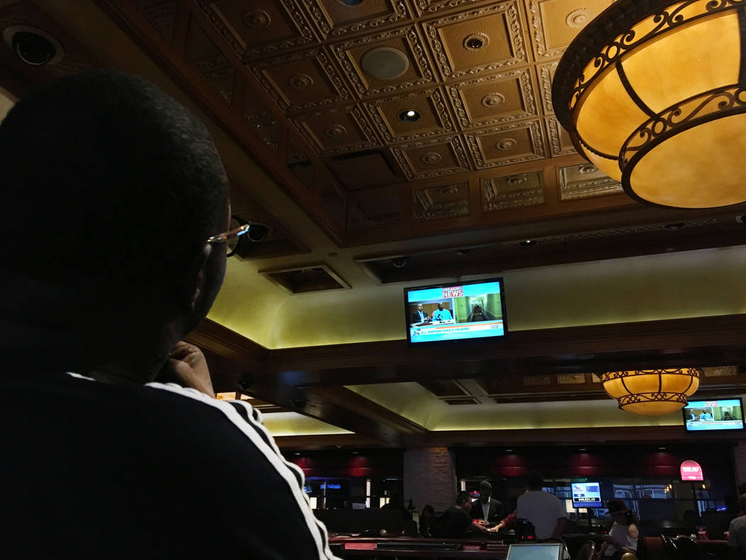 People at the Palace Station in Las Vegas watch the O.J. Simpson's parole hearing, Thursday, July 20, 2017. Elizabeth Brumley Las Vegas Review-Journal