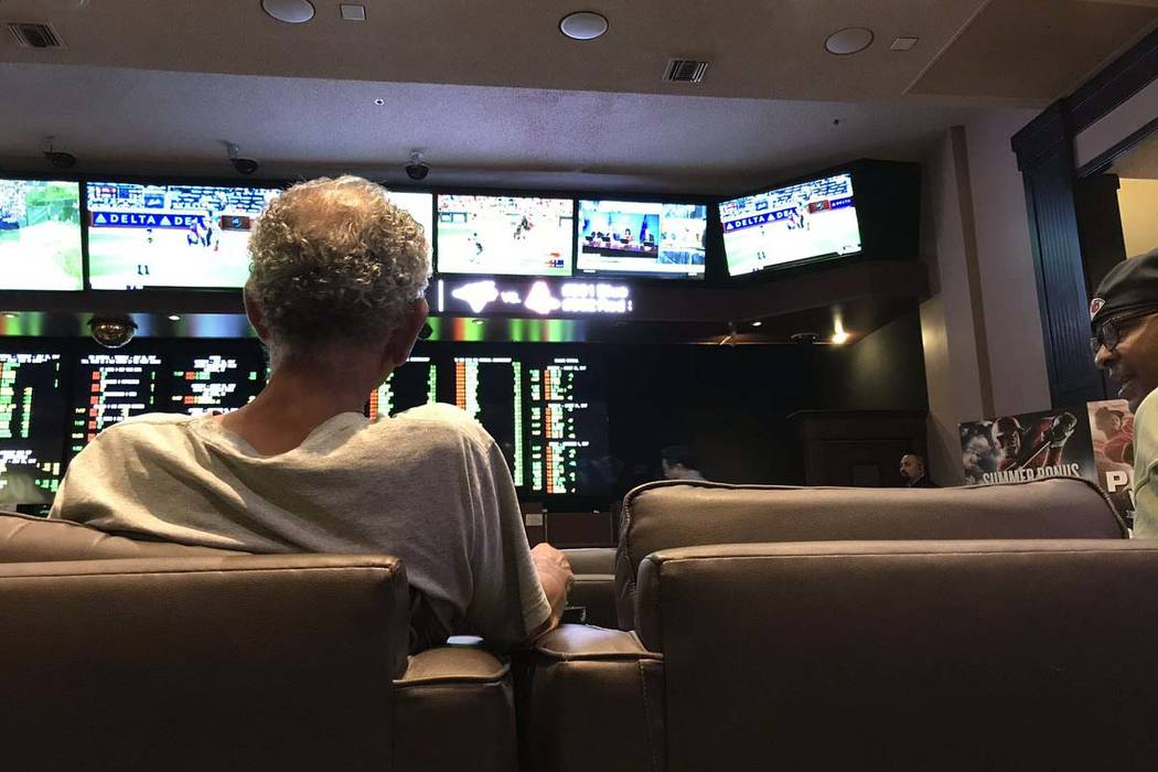 TVs in the sports book at Palace Station were tuned to sports and the O.J. Simpson parole hearing on Thursday, July 20, 2017. (Blake Apgar/Las Vegas Review-Journal)