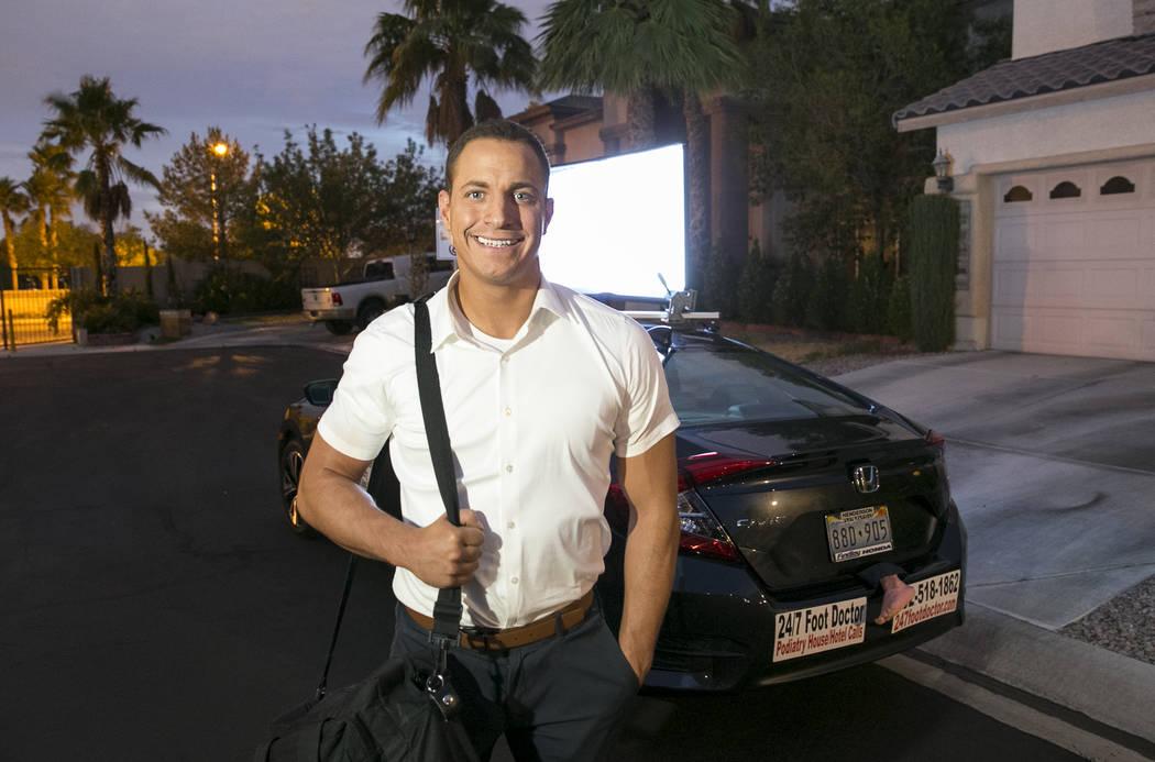 "Podiatrist Dr. Sean Reyes with his ""foot mobile"" on Monday, July 24, 2017, in Las Vegas. Richard Brian Las Vegas Review-Journal @vegasphotograph"