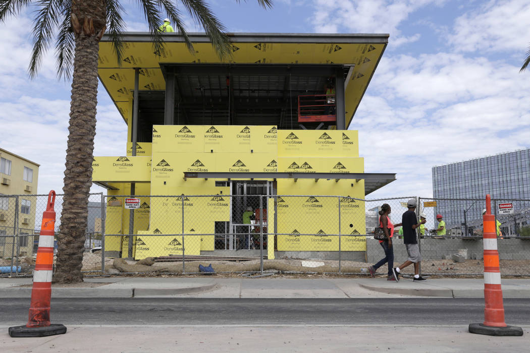 A building, a part of Smart City projects, is under construction near the intersection of Clark Avenue and Casino Center Boulevard  in Las Vegas, Wednesday, July 26, 2017. Gabriella Angotti-Jones  ...