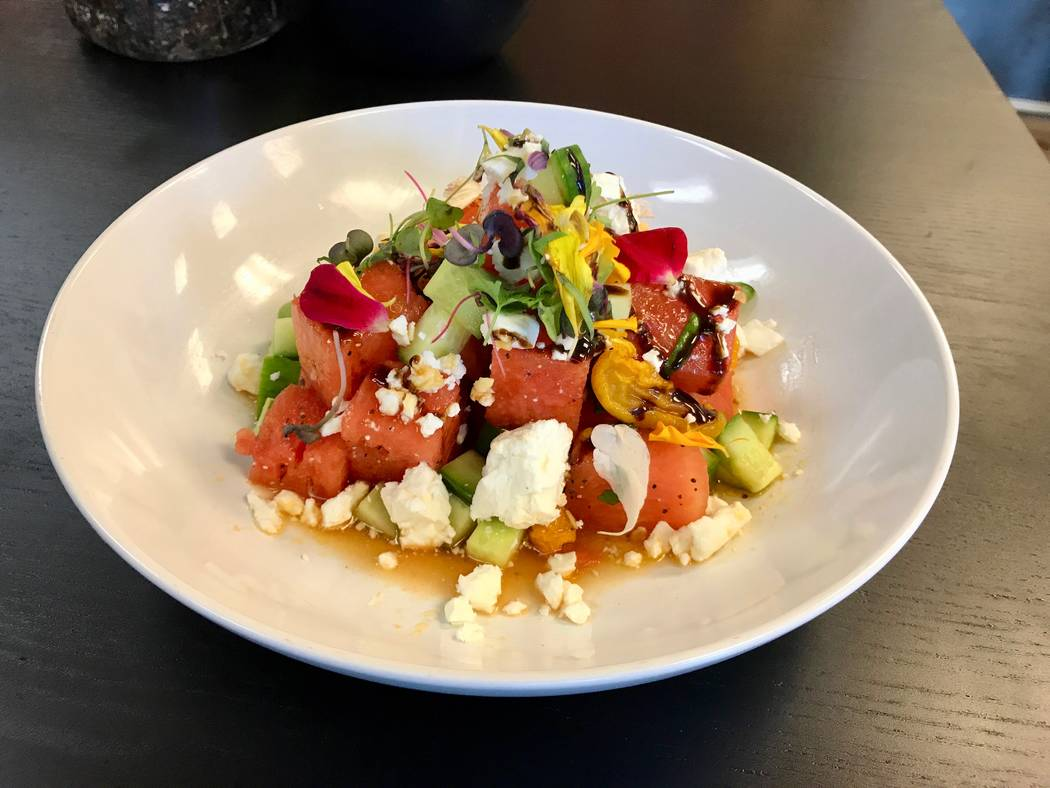 Employee Charlene Alvarado created the watermelon feta salad, with watermelon, Greek feta (made from sheep and goat milk) cucumber and a vinaigrette. ($4.50 as a side or $11.50 for a large dish as ...