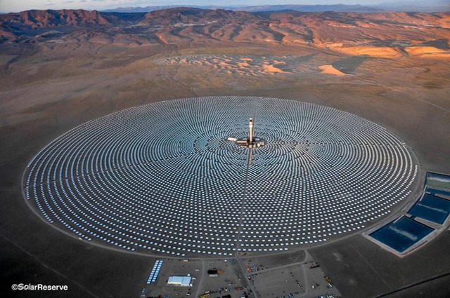 The 1,600-acre Crescent Dunes Solar Energy Project, 225 miles northwest of Las Vegas, can store the energy from the sun and generate power day or night. SolarReserve
