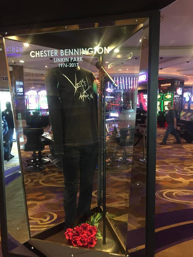 The display honoring the late Chester Bennington at Hard Rock Hotel, shown on Wednesday, July 20, 2017. (Hard Rock Hotel)
