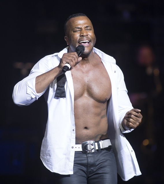 """Bryan Cheatham of Chippendales at The Rio and """"53X"""" at Paris Las Vegas performs during the 2016 Best of Las Vegas Awards at The Venetian on Saturday, Nov. 5, 2016, in Las Vegas. (Loren Townsley/La ..."""