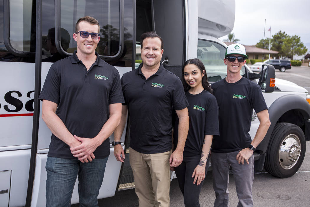 From left, Michael Wagner, partner with Herbology Tours, Matthew Miner, owner and CEO, Devyn Shannon, tour guid, and Jeremy Crudup, owner, at AWG Ambassador in Las Vegas on Monday, July 24, 2017.  ...