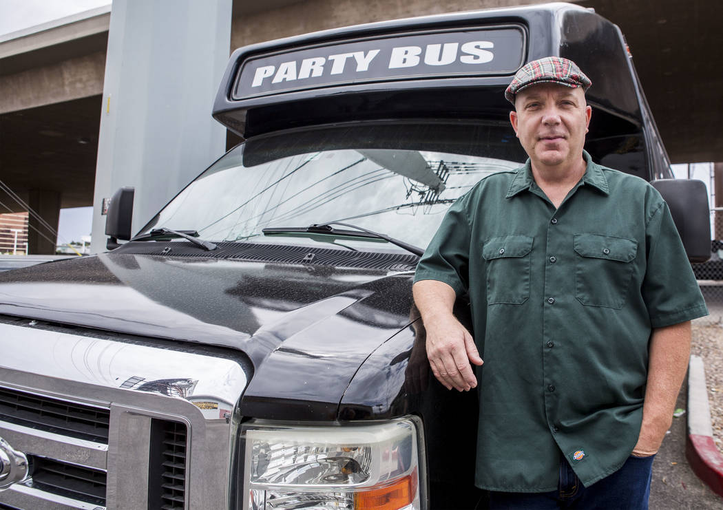 Michael Stevens, owner of Highway Tour Las Vegas, stands by one of his party buses near the Can Can Room in Las Vegas on Tuesday, July 25, 2017. (Patrick Connolly/Las Vegas Review-Journal) @PConnPie