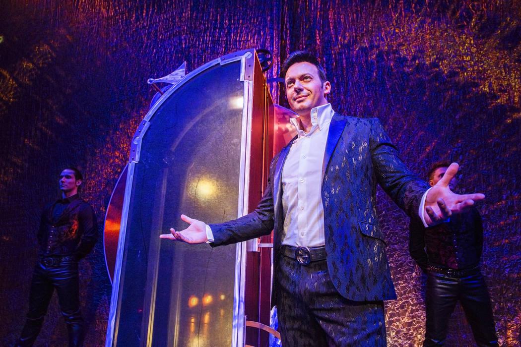 "Illusionist David Goldrake rehearses for his new show ""Imaginarium"" June 22 at the Tropicana Theater. (Benjamin Hager Las Vegas Review-Journal @benjaminhphoto)"