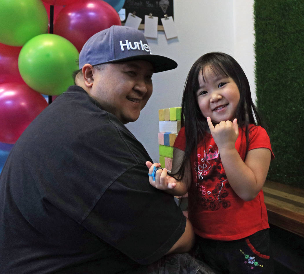 Jay Cabais and daughter Angel, 4, at the grand opening for Sweetspot Nitrogen Ice Cream & Boba Tea in Las Vegas, Saturday, July 22, 2017. Gabriella Benavidez Las Vegas Review-Journal @latina_ish