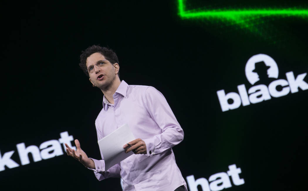 Jeff Moss, founder of the Black Hat and DEF CON conferences, speaks before keynote during the Black Hat information security conference at Mandalay Bay, Wednesday, July 26, 2017, in Las Vegas. Ric ...