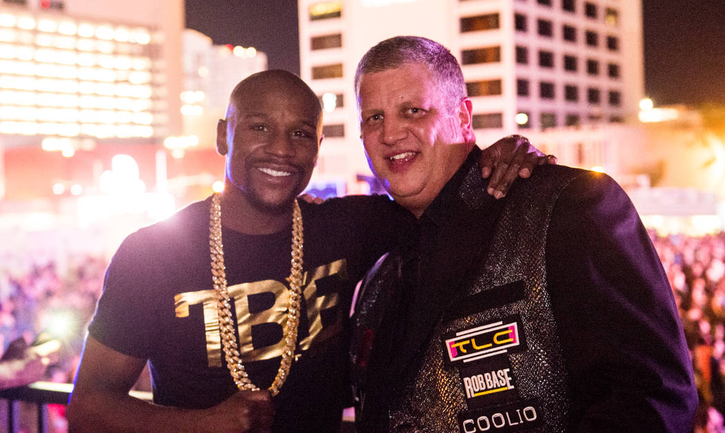 Floyd Mayweather is shown with D Las Vegas owner Derek Stevens at Downtown Las Vegas Events Center on Friday, July 21, 2017. (Tom Donoghue)