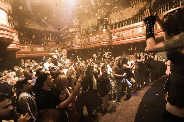 In this image provided by The Act nightclub, patrons enjoy a performance at the club located at the Palazzo hotel-casino on the Las Vegas Strip. (AP Photo/The Act Nightclub, Denise Truscello )