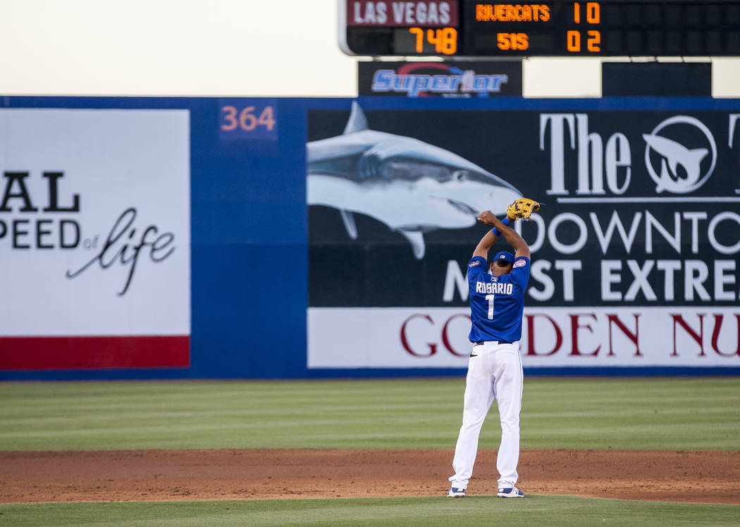 Amed Rosario warms up before an inning during Las Vegas 51s game against the Sacramento River Cats at Cashman Field on Friday, June 16, 2017. The River Cats won 6-4.  Patrick Connolly Las Vegas Re ...