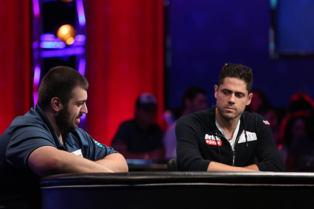 Scott Blumstein, left, and Benjamin Pollak, right, play during the World Series of Poker final table at Rio hotel-casino in Las Vegas on Saturday, July 22, 2017.  Bridget Bennett Las Vegas Review- ...