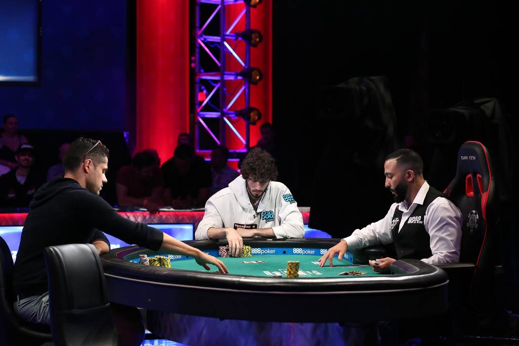 Benjamin Pollak, left, and Dan Ott, right, play during the World Series of Poker final table at Rio hotel-casino in Las Vegas on Saturday, July 22, 2017.  Bridget Bennett Las Vegas Review-Journal  ...