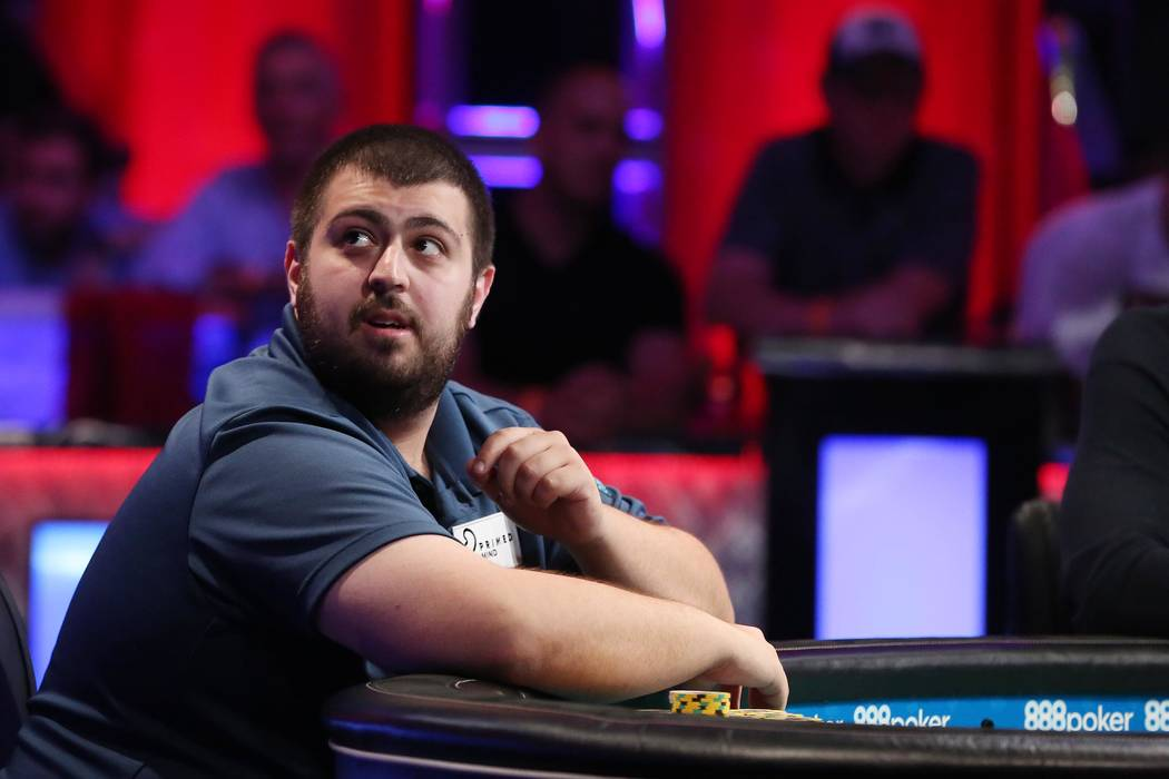 Scott Blumstein plays at the World Series of Poker final table at the Rio Convention Center in Las Vegas on Saturday, July 22, 2017.  Bridget Bennett Las Vegas Review-Journal @bridgetkbennett