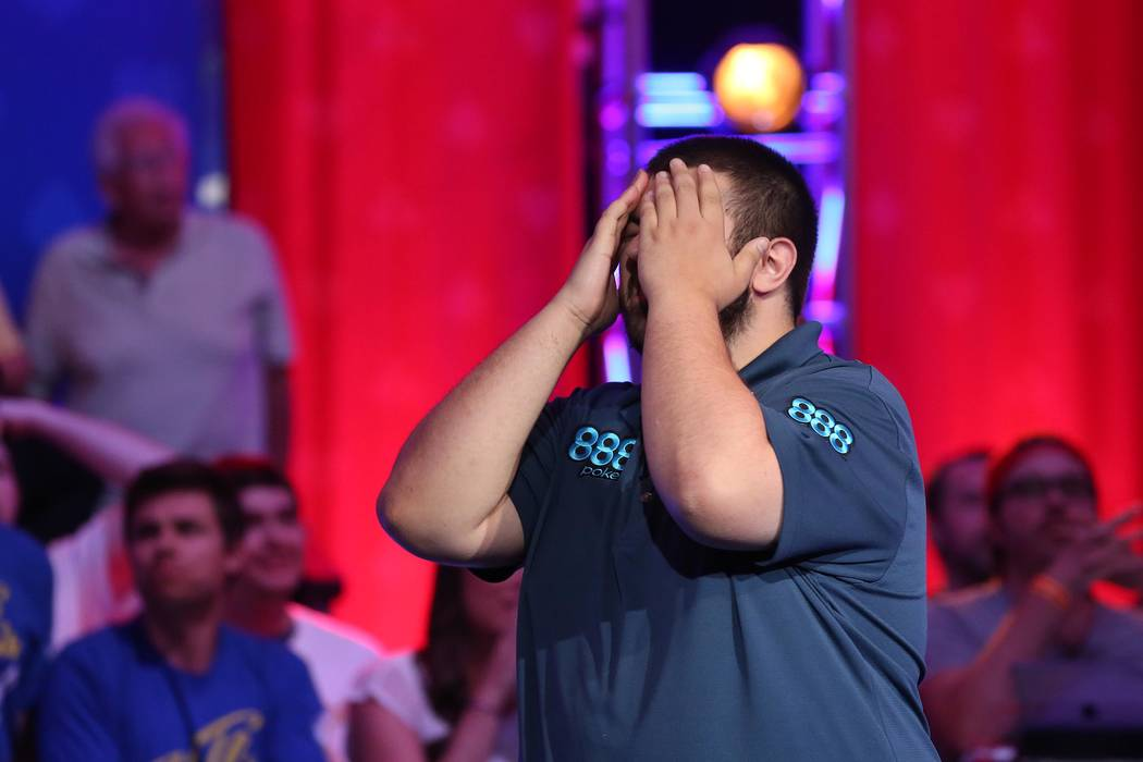 Scott Blumstein reacts at the World Series of Poker final table at the Rio Convention Center in Las Vegas on Saturday, July 22, 2017.  Bridget Bennett Las Vegas Review-Journal @bridgetkbennett