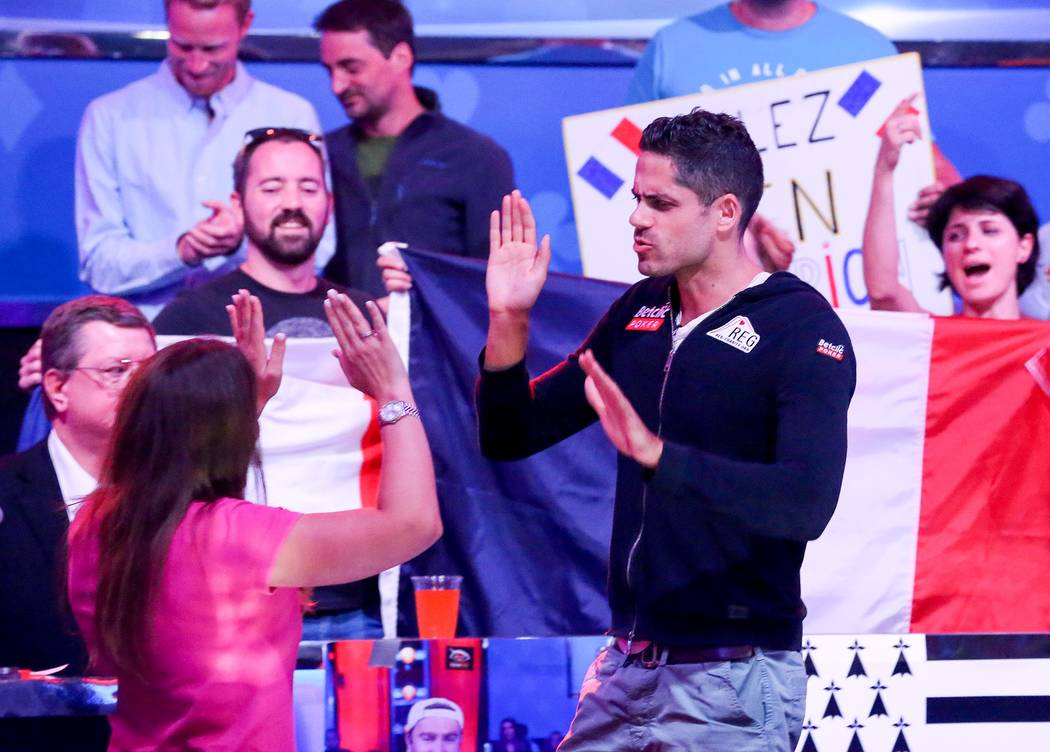 Fans cheer on Benjamin Pollak at the World Series of Poker final table at the Rio Convention Center in Las Vegas on Saturday, July 22, 2017.  Bridget Bennett Las Vegas Review-Journal @bridgetkbennett