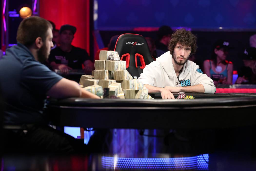 Scott Blumstein, left, and Dan Ott, right, face off at the World Series of Poker final table at Rio Convention Center in Las Vegas on Saturday, July 22, 2017.  Bridget Bennett Las Vegas Review-Jou ...