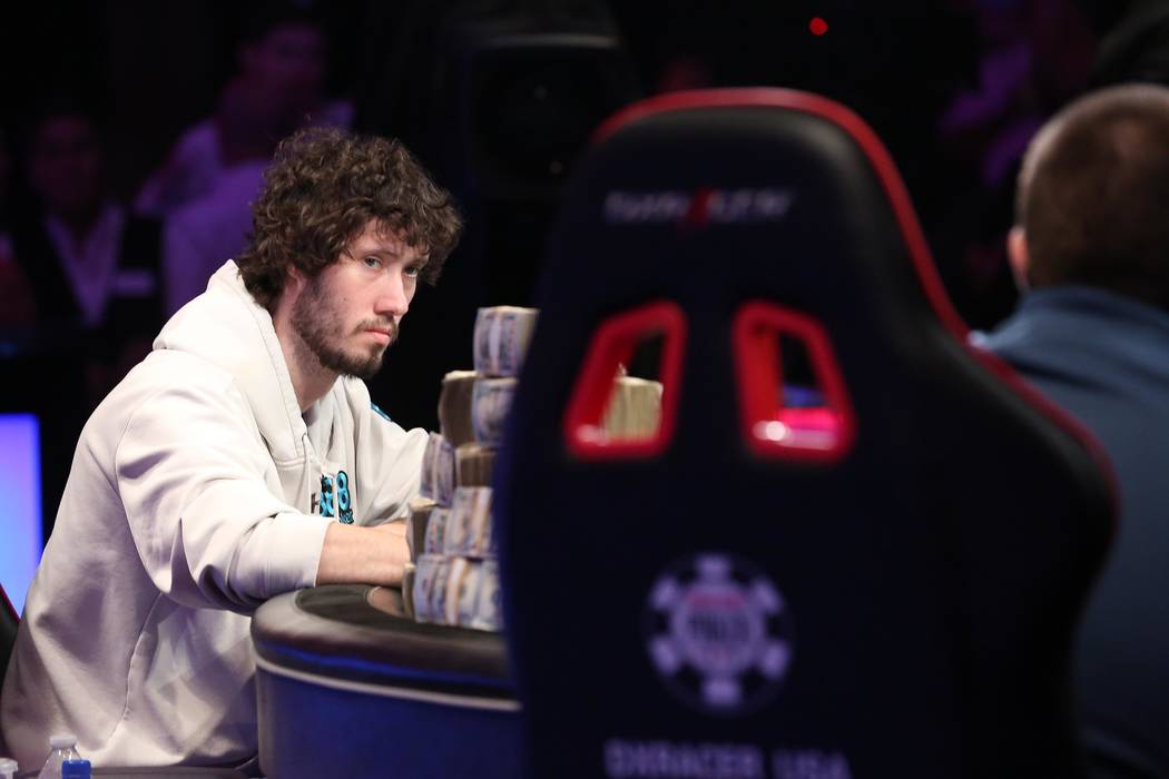 Dan Ott, pictured, face off against Scott Blumstein at the World Series of Poker final table at Rio Convention Center in Las Vegas on Saturday, July 22, 2017.  Bridget Bennett Las Vegas Review-Jou ...