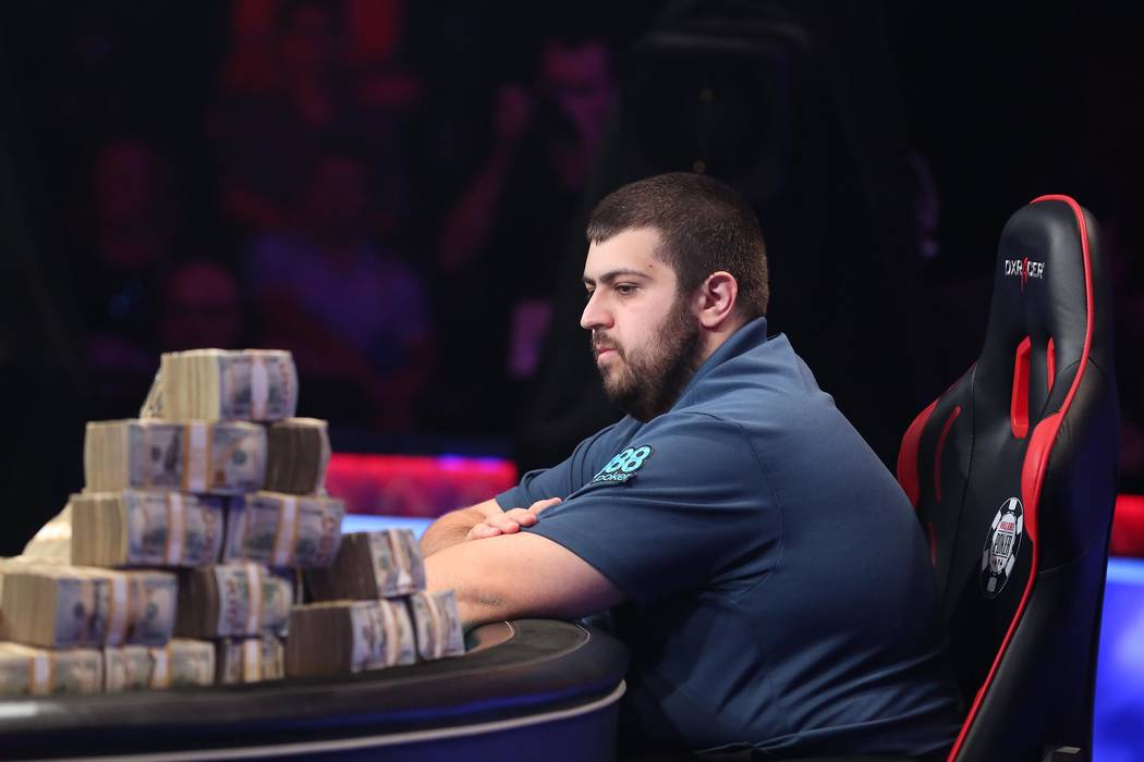 Scott Blumstein, pictured, faces off against  Dan Ott at the World Series of Poker final table at Rio Convention Center in Las Vegas on Saturday, July 22, 2017.  Bridget Bennett Las Vegas Review-J ...