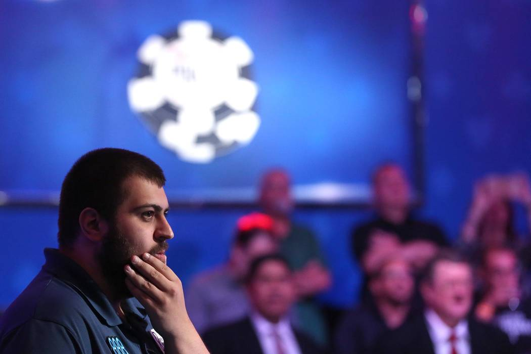 Scott Blumstein waits in anticipation before becoming the 2017 World Series of Poker champion at the World Series of Poker final table at Rio Convention Center in Las Vegas on Saturday, July 22, 2 ...