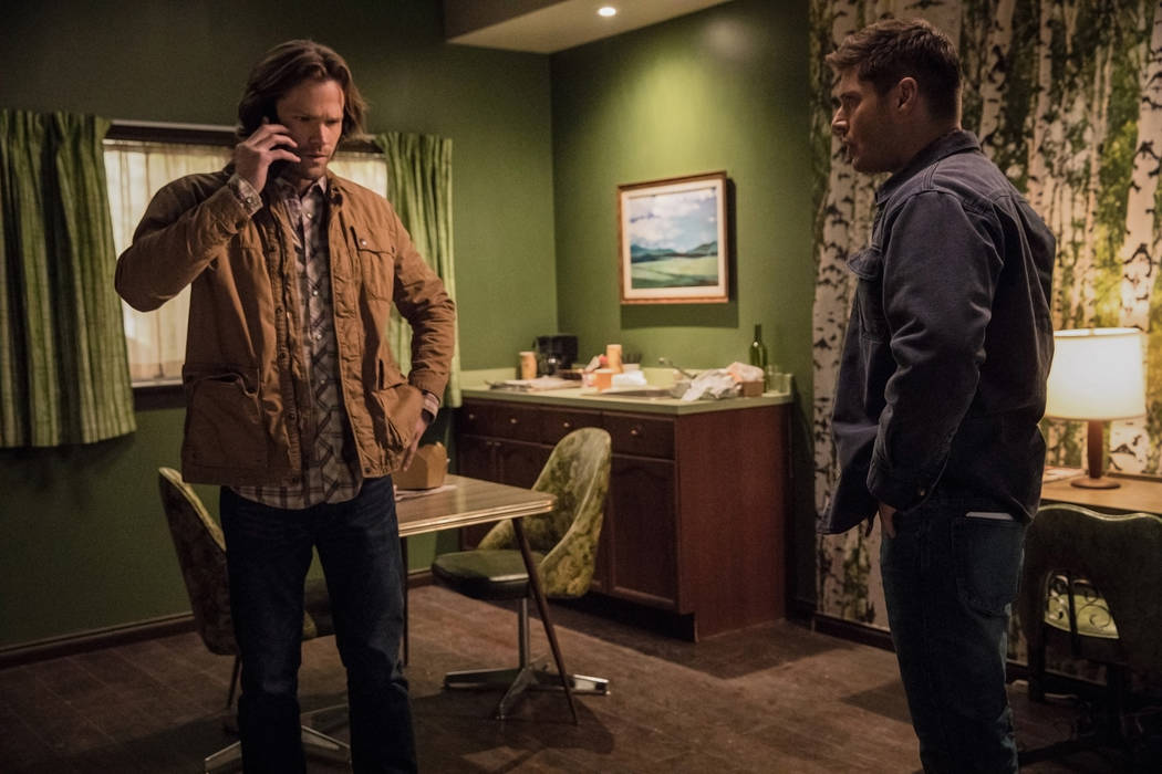"Jared Padalecki as Sam, left, and Jensen Ackles as Dean in an episode of ""Supernatural."" (Jack Rowand/The CW)"