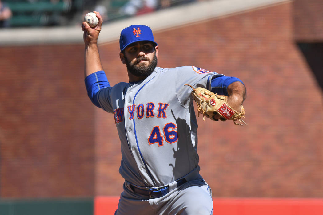 New York Mets pitcher Chasen Bradford (46) throws a pitch during a MLB game between the New York Mets and the San Francisco Giants on June 25, 2017, at AT&T Park in San Francisco, CA. (Photo b ...