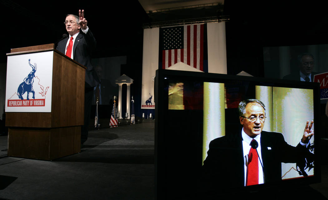 In this Saturday, May 31, 2008 file photo, Del. Bob Marshall delivers a speech during the 2008 Virginia Republican Convention in Richmond, Va. Democrat Danica Roem, a former journalist, is trying  ...