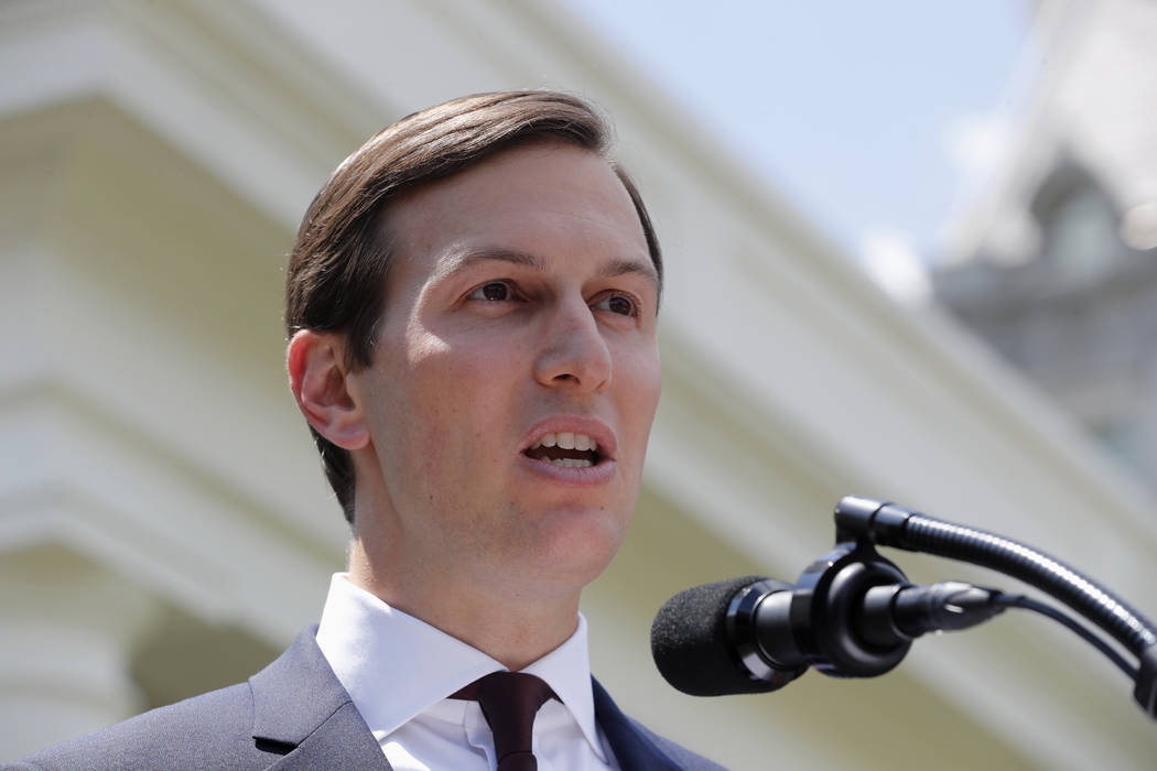 White House senior adviser Jared Kushner speaks to reporters outside the White House in Washington, Monday, July 24, 2017, after meeting on Capitol Hill behind closed doors with the Senate Intelli ...