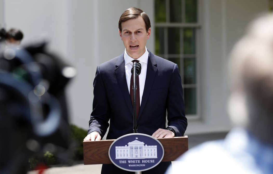 White House senior adviser Jared Kushner speaks to reporters outside the White House in Washington, Monday, July 24, 2017, after meeting behind closed doors with the Senate Intelligence Committee  ...