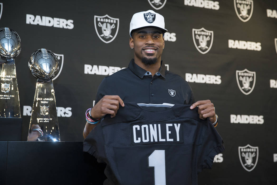 Oakland Raiders first round NFL Draft pick Gareon Conley of Ohio State during a press conference at the Raiders Headquarters on Friday, April 28, 2017, in Alameda, Calif. Erik Verduzco Las Vegas R ...
