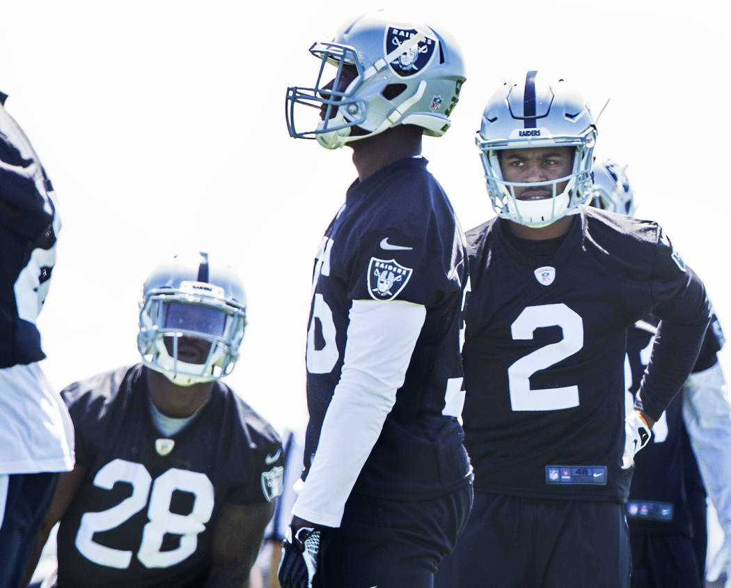 Raiders first-round draft pick Gareon Conley (2) stretches during rookie minicamp on Friday, May 5, 2017, at Oakland Raiders Headquarters, in Alameda, Calif. Benjamin Hager Las Vegas Review-Journa ...