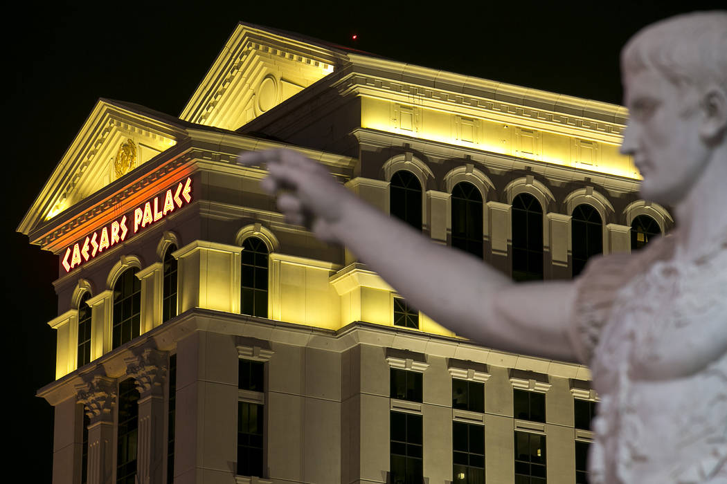 A marble replica of Augustus of Prima Porta stands at the Las Vegas Strip entrance of Caesars Palace, Monday, July 24, 2017. (Richard Brian/Las Vegas Review-Journal) @vegasphotograph