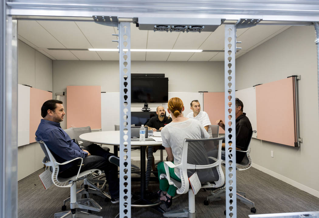 A conference room in the former Gamblerճ Book Shop near Charleston Boulevard and Maryland Parkway in Las Vegas, Thursday, July 27, 2017. Henriksen/Butler, an office-furniture firm, will occu ...