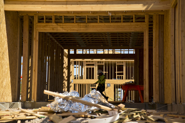 Work on new homes continues at the Estates at Serene development near St. Rose Parkway and Serene Avenue in Henderson in 2016. (Daniel Clark/Las Vegas Review-Journal) @DanJClarkPhoto