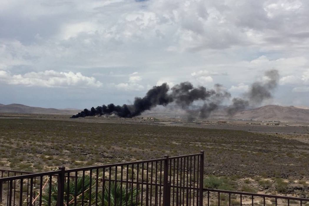 A plane crashed around noon Monday, July 24, 2017, near the airport in Henderson. (Donna Lawton/Facebook)