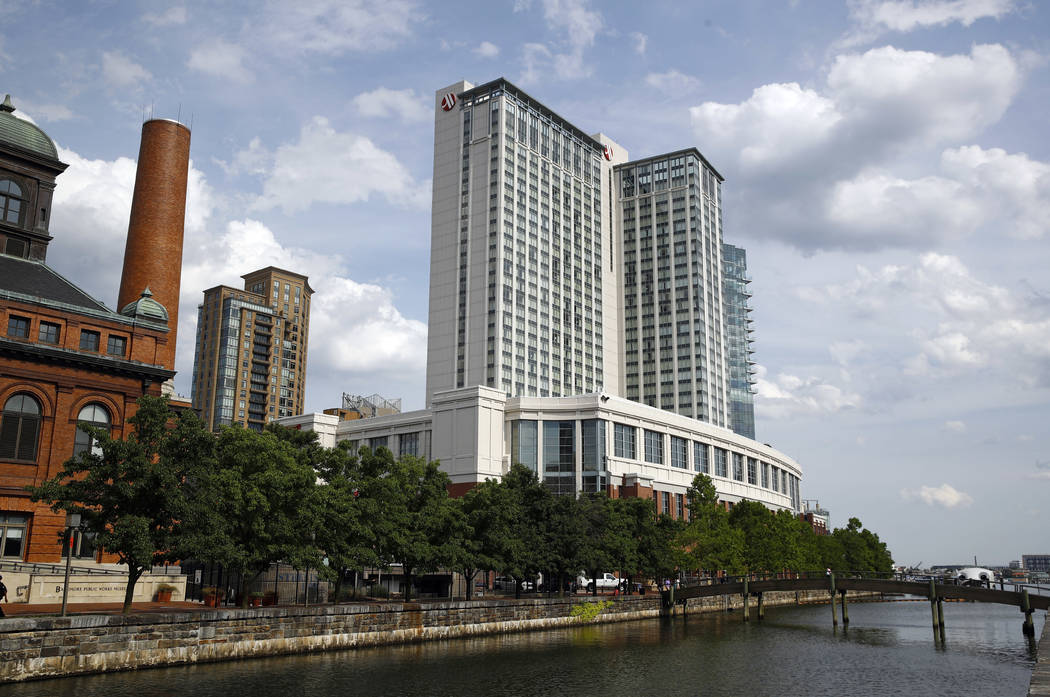 """The Marriott Hotel in Baltimore's Harbor East district, June 29, 2017. In sales brochures, a U.S. company boasted of the """"stunning visual effect"""" its shimmering aluminum panels created in an N ..."""