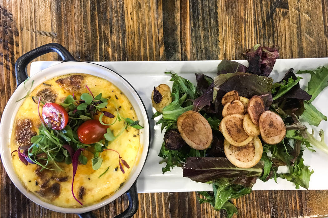 "The gluten-free ""Crustless Quiche of the Day"" comes with a side salad and house dressing, $11.95. (Alex Meyer/View) @alxmey"