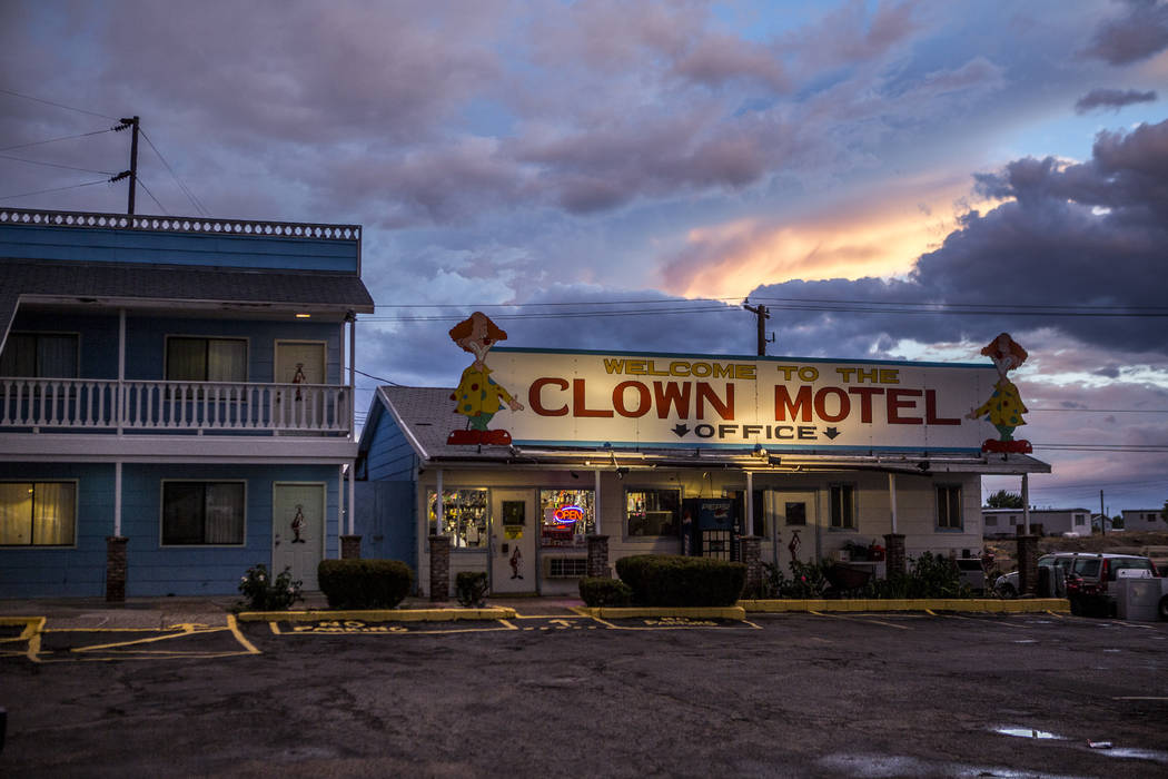 The sun sets over the Clown Motel in Tonopah on Tuesday, July 25, 2017. The Clown is currently for sale with the condition that the new owner must keep the clown theme.  Patrick Connolly Las Vegas ...