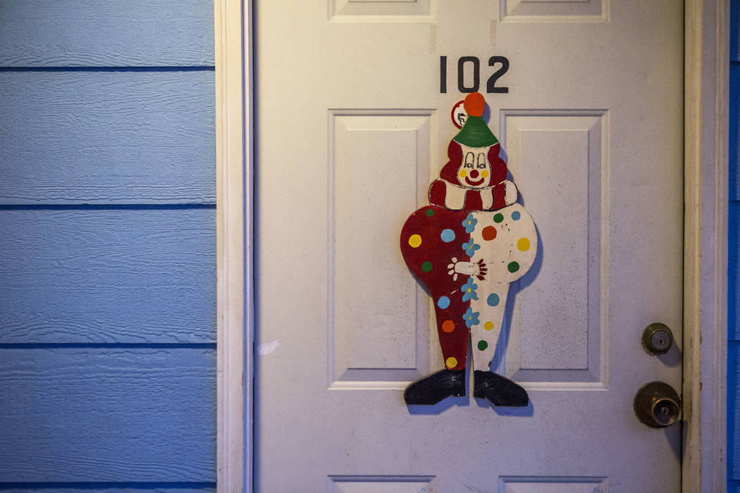 Clowns decorate most doors at the Clown Motel in Tonopah on Tuesday, July 25, 2017. The Clown is currently for sale with the condition that the new owner must keep the clown theme.  Patrick Connol ...