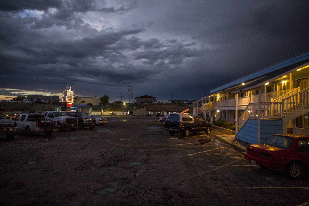 Clouds roll over the Clown Motel in Tonopah at dusk on Tuesday, July 25, 2017. The Clown is currently for sale with the condition that the new owner must keep the clown theme.  Patrick Connolly La ...