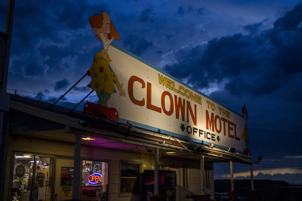 The office of the Clown Motel at dusk in Tonopah on Tuesday, July 25, 2017. The Clown is currently for sale with the condition that the new owner must keep the clown theme.  Patrick Connolly Las V ...