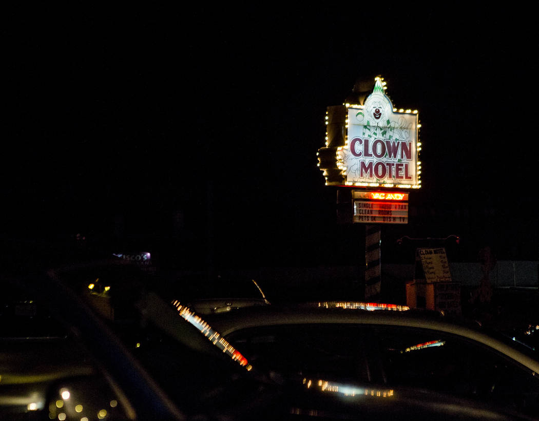 The Clown Motel sign shines in the dark in Tonopah on Tuesday, July 25, 2017. The Clown is currently for sale with the condition that the new owner must keep the clown theme.  Patrick Connolly Las ...