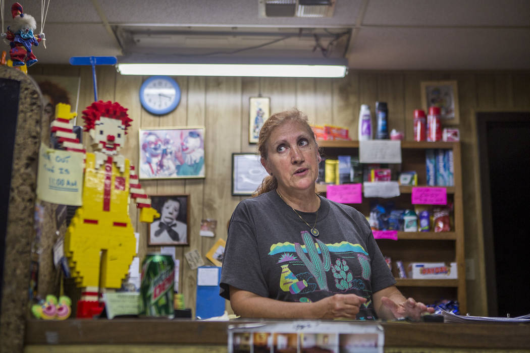 Marlena Dufour, who works at the front desk, speaks about her time working at the Clown Motel in Tonopah on Tuesday, July 25, 2017. The Clown is currently for sale with the condition that the new  ...