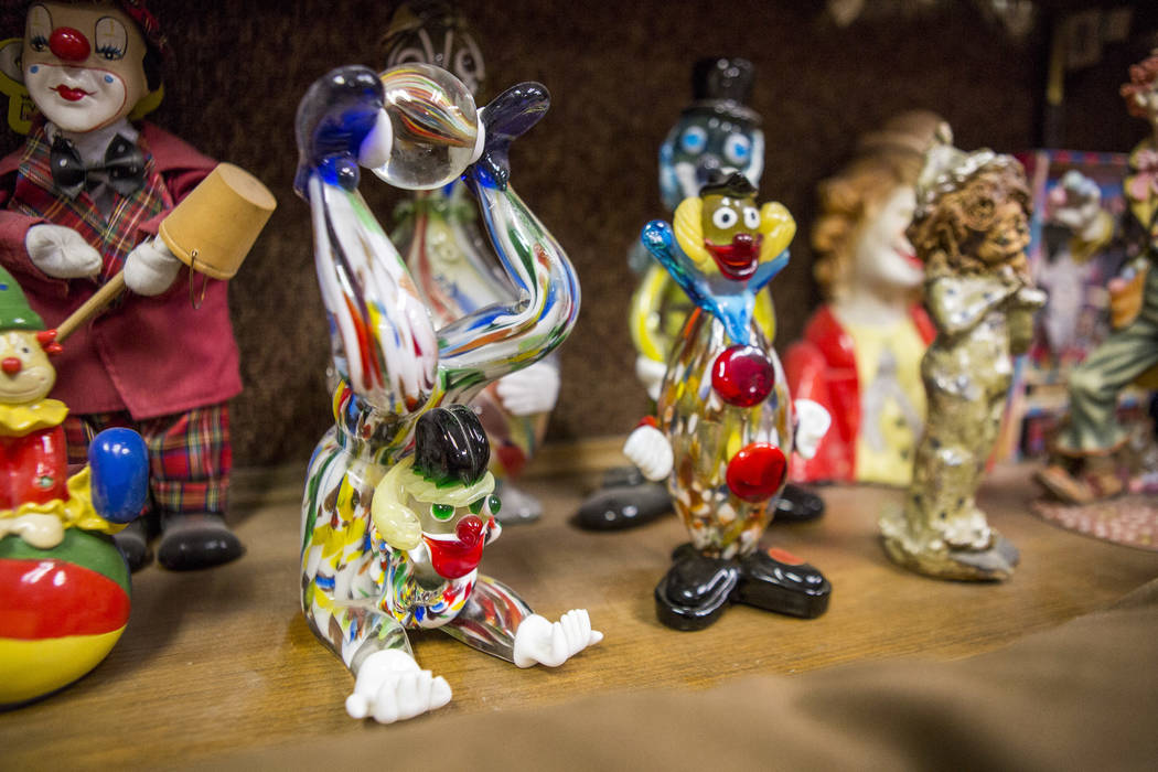 Clowns made of blown glass from Italy are on display with about 600 others in the lobby of the Clown Motel in Tonopah on Tuesday, July 25, 2017. Visitors have traveled from around the world to sta ...