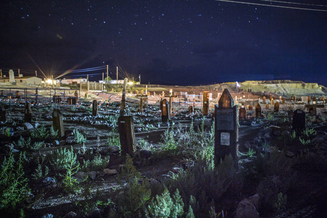 A nighttime view of the Tonopah Cemetery, known for paranormal activity, next to the Clown Motel in Tonopah on Tuesday, July 25, 2017.  Patrick Connolly Las Vegas Review-Journal @PConnPie